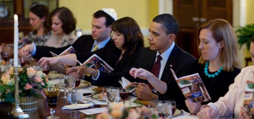 President Barack Obama and the First Family mark the beginning of Passover with a Seder with friends and staff in the Old Family Dining Room of the White House, March 29, 2010.  (Official White House Photo by Pete Souza) This official White House photograph is being made available only for publication by news organizations and/or for personal use printing by the subject(s) of the photograph. The photograph may not be manipulated in any way and may not be used in commercial or political materials, advertisements, emails, products, promotions that in any way suggests approval or endorsement of the President, the First Family, or the White House.