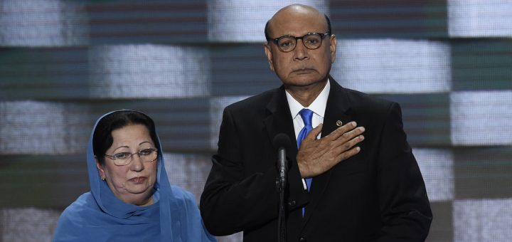 Khizr Khan addresses delegates on the fourth and final day of the Democratic National Convention at Wells Fargo Center on July 28, 2016 in Philadelphia, Pennsylvania.  Khizr Khans son, Humayun S. M. Khan was a University of Virginia graduate and enlisted in the US Army. Khan was one of 14 American Muslims who died serving the United States in the ten years after the September 11, 2001 terrorist attacks. / AFP / SAUL LOEB        (Photo credit should read SAUL LOEB/AFP/Getty Images)